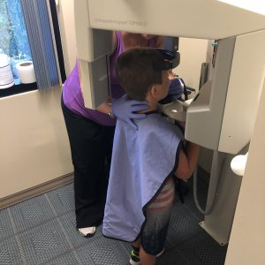 patient getting a panoramic x-ray